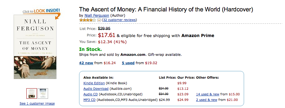 Note the price differential (list price of $29.99 and Kindle price of $9.99)