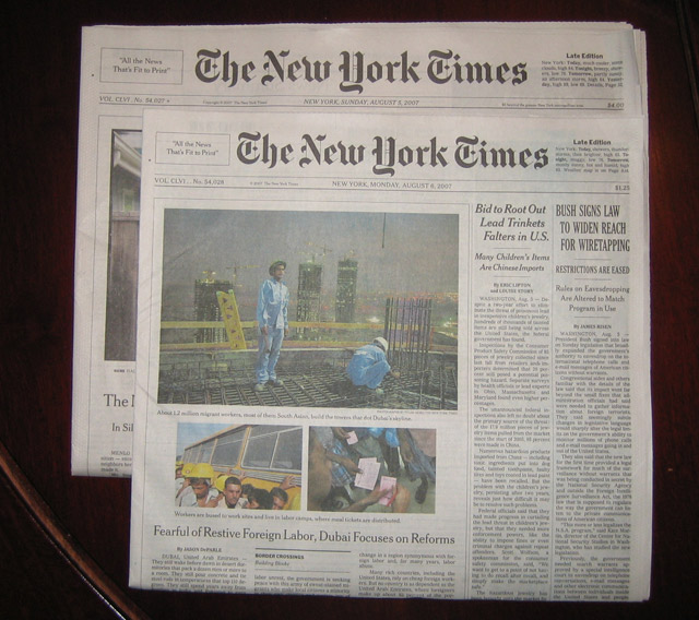 The New York Times loses 1.5 inches on August 6, 2007
