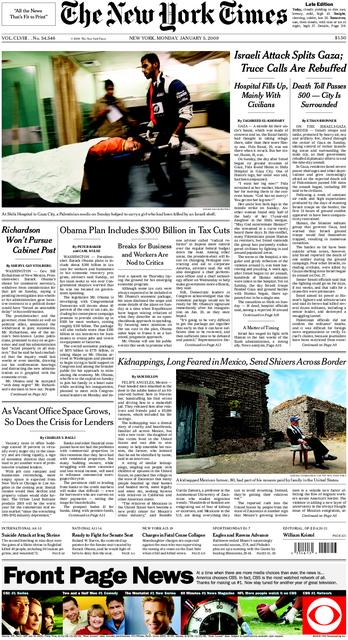 The New York Times front page, Jan. 5, 2009